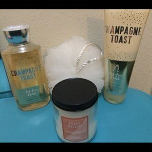 BBW champagne toast cream &shower gel, and candle